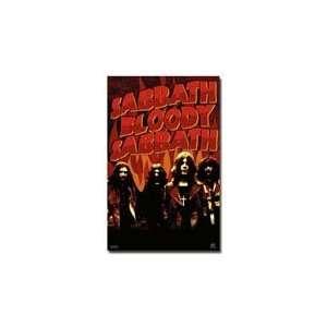 Black Painted Wood Framed Black Sabbath Bloody Music Poster 22x34
