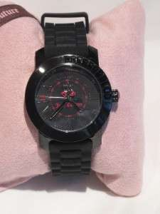 NIB Juicy Couture Black & Pink BFF Black CZ Jelly Plastic Watch