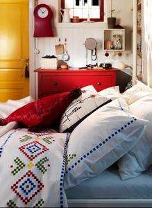 Ikea Birgit Lantlig Duvet Cover set King size Folk Country Satin