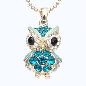 Gold Teal Blue Zircon Night Owl Rhinestone Crystal Pendant Necklace
