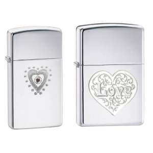 Zippo 2012 Lighter Set   Slim Bling Heart Engraved with
