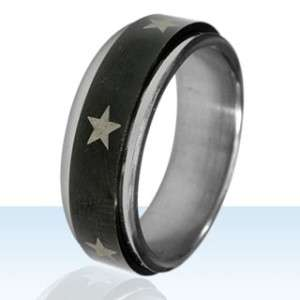 Star Spinner Ring Size 12 Black Silver Gold Stars