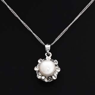 Star or Flower Pendant Necklace & Earrings Set w/ White or Black