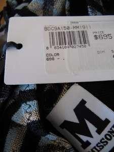 NWT M Missoni Plaid Wavy Stripe Knit Dress Multi Color Aqua Blue