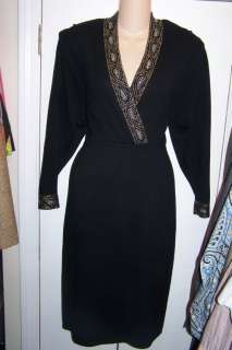 ST JOHN Marie Gray Vtg Black Santana Knit Beaded Dress