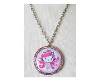 TARINA TARANTINO HELLO KITTY LARGE PNK CRYSTAL NECKLACE