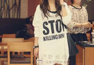 2011 New Korean Women STOP Print Casual Loose Hoodie T shirt Top 2