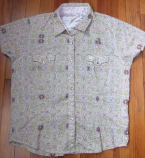Earthtone Print Short Sleeve w Pink Bling Buttons Cotton Shirt Med