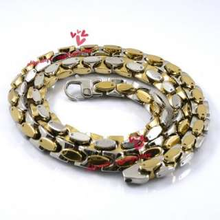 Heavy 9mm Stainless Steel Silver Gold Solid Necklace