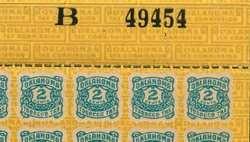 Oklahoma tobacco tax revenue stamps pane & blocks T34 T37 T40