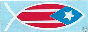 PUERTO RICO JESUS FISH CAR STICKER DECAL