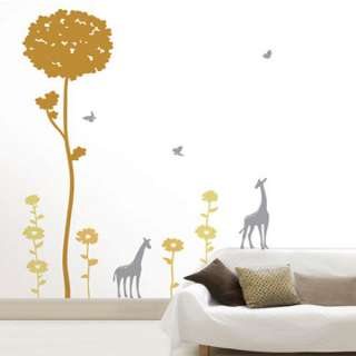 TREE & GIRAFFE Mural Art Wall Sticker Vinyl Decal Decor