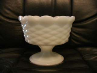 White Milk Glass Candy Fruit Cup Bowl Compote Dish Pedastool Footed