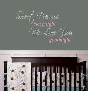 Sweet Dreams Nursery Quote Wall Decal Lettering Decor
