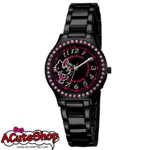 Hello Kitty Womens Crystal Watch Black Sanrio LK606LBBA S