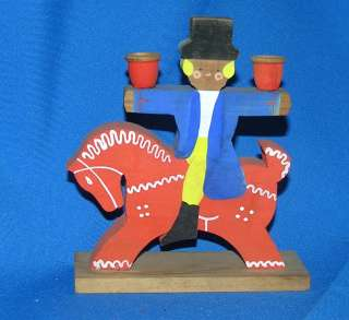 VTG SWEDEN /NORWEGIAN WOOD HAND PAINTED BOY ON HORSE XMAS CANDLE