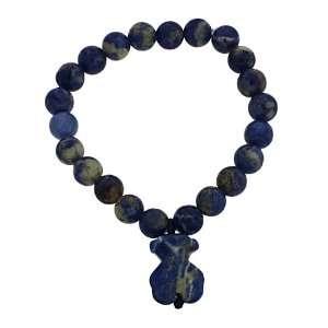 Genuine Blue Agate Gemstone TEDDY BEAR Beaded Stretch