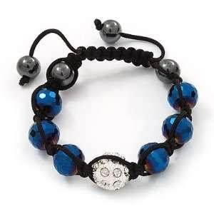 Metallic Blue & Clear Crystal Balls Swarovski Shamballa Bracelet  11mm