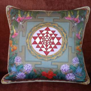 Lalitas Garden Sri Yantra SILK MEDITATION PILLOW