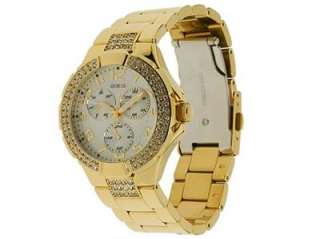 BRAND NEW GUESS MULTIFUNCTION GOLD PRISM CRYSTAL WATCH G13537L NEW IN