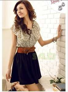 Delicate Pretty Women Lady Chiffon Lace Round Collar Black Dot Short