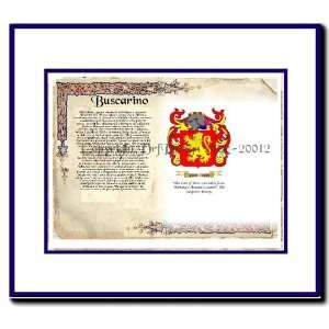 Busco Coat of Arms/ Family History Wood Framed: Home