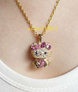 Necklace Fashion Crystal Bling Golden Jewelry Super Cute NEW