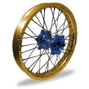 Pro Wheel Supermoto Front Wheel Set   17x3.50   Gold Rim/Blue Hub 26