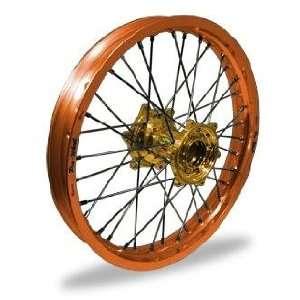 Pro Wheel Supermoto Rear Wheel Set   17x5.00   Orange Rim/Gold Hub 27