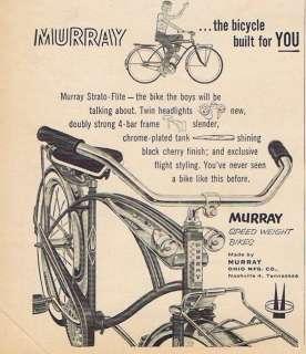 1958 MURRAY STRATO FLITE BIKE BICYCLE BOYS PRINT AD MFG