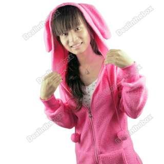 Cute Women Bunny Ears Warm Sherpa Hoodie Zipper Pull Jacket Coat tops