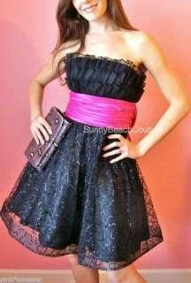 Betsey Johnson Black Cotillion Strapless Dress Pink Bow