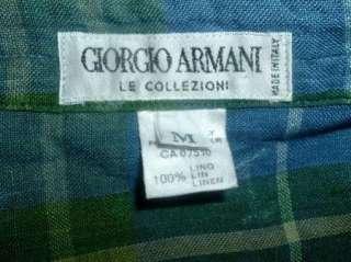 GIORGIO ARMANI ITALY COLLEZIONI BLUE GREEN TARTAN PLAID 100% LINEN