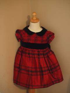 GIRLS GYMBOREE SILK HOLIDAY DRESS 18M 24M RED PLAID