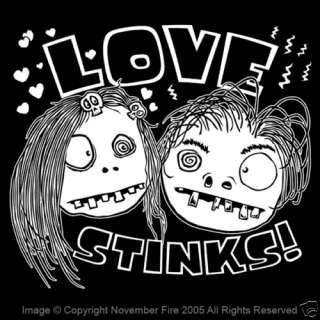 Love Stinks Shirt Gothic Funny Cartoon Skull Emo Punk