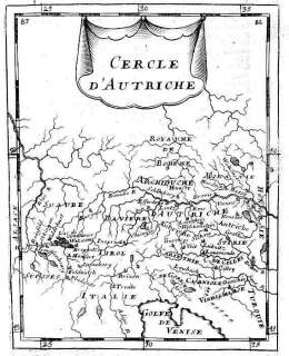 AUSTRIA ÖSTERREICH. Scarce Antique map. Mallet. 1683