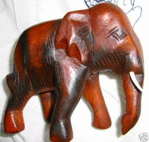 NEW HAND CARVED THAILAND TEAK WOOD ELEPHANT FIGURE 4x5