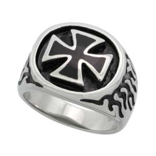 Stainless Steel Maltese / Iron Cross Biker Ring (Available in Sizes 9