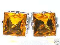 ONE PAIR SQUARE CRYSTAL RHINESTONE EARRINGS **YELLOW**