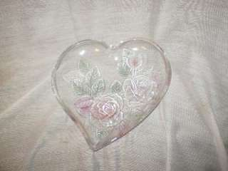 Depression Glass, Clear, Rose Design, Heart Shaped, Candy/Trinket