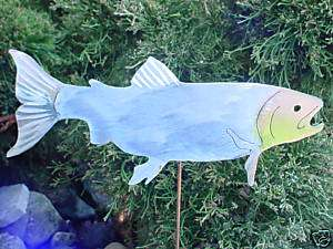 TROUT SALMON FISH METAL YARD ART PLANT GARDEN SPIKE