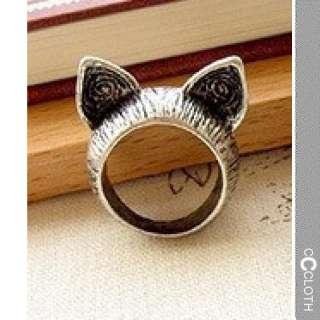 Silver NEW Womens Kitty Cat Ears Antique Rings