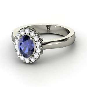 Princess Kate Ring, Oval Sapphire 14K White Gold Ring with White