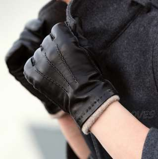 Mens GENUINE LAMBSKIN driving leather MOTORCYCLE gloves M004WZ_Black