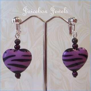 CLIP ON Purple/Black Zebra Animal Print 1.25 Heart Dangle Earrings SP