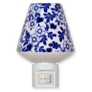 Ceramic Night Light   Blue Flowers Nightlight