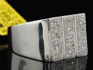 MENS 10K WHITE GOLD PAVE DIAMOND SQUARE FACE PINKY RING