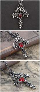 Cool Punk Gothic Red Crystal Heart Vintage Sacred Cross Pendant