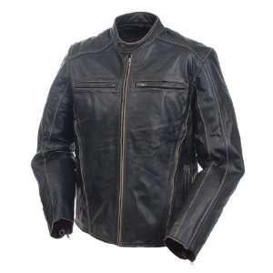 Mossi Mens Drifter Premium Leather Jacket 48 Antique Black