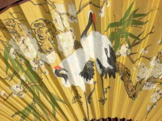 Oriental Hand Painted Accordion Folding Fan Crane Motif